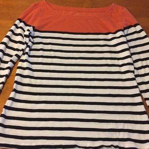 Ann Taylor loft 3/4 sleeve t-shirt orange & white